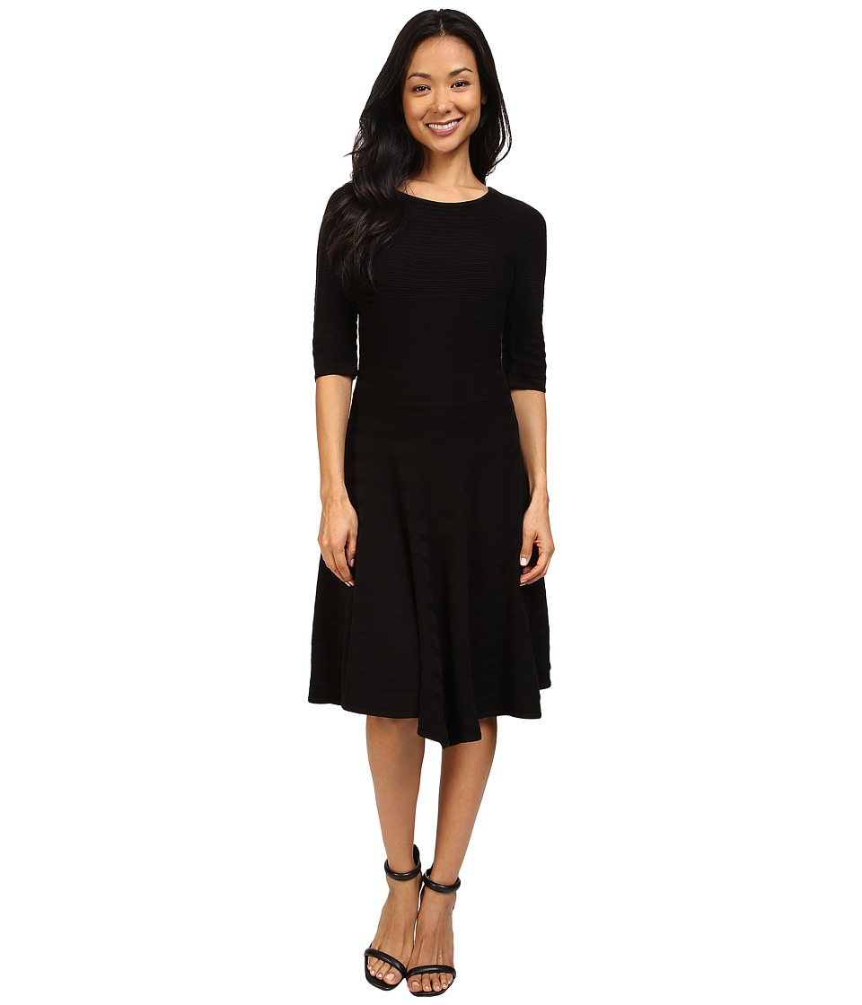 Ivanka Trump - Fit and Flare Sweater Dress (Black) Women's Dress