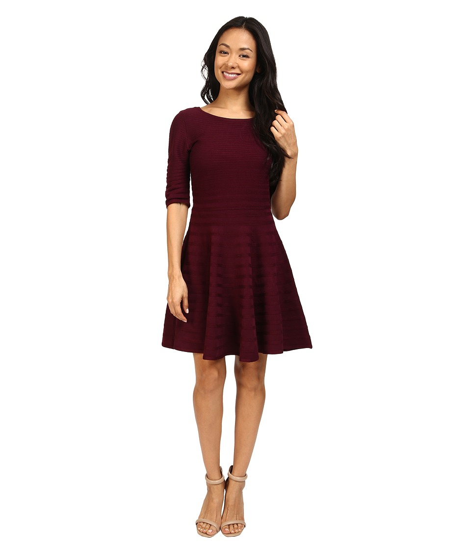 Ivanka Trump - Fit and Flare Sweater Dress (Malbec) Women's Dress