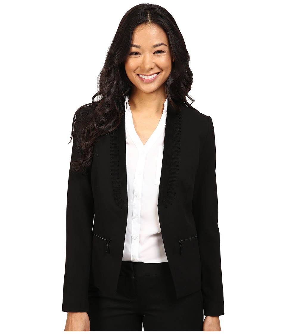 Ivanka Trump - Faux Suede Open Fly-A-way Jacket (Black) Women's Coat