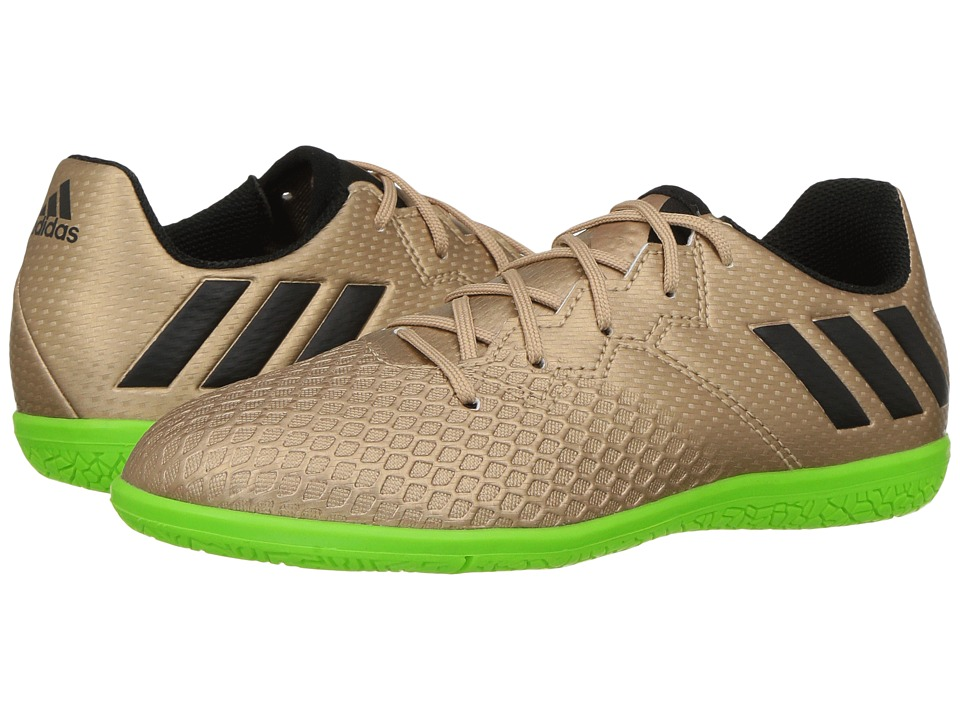 adidas Kids - Messi 16.3 IN Soccer (Little Kid/Big Kid) (Copper Metallic/Black/Solar Green) Kids Shoes