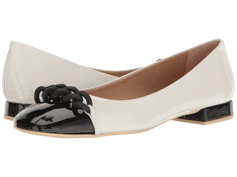 French Sole - Tumble (White/Black Patent Leather) Women's Flat Shoes