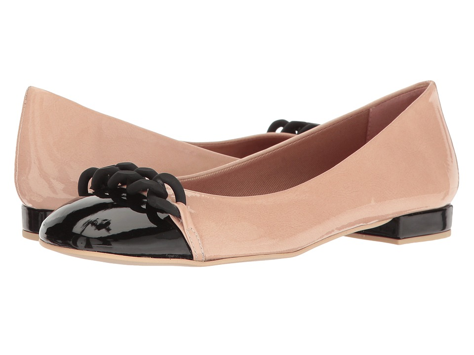 French Sole - Tumble (Nude/Black Patent Leather) Women's Flat Shoes