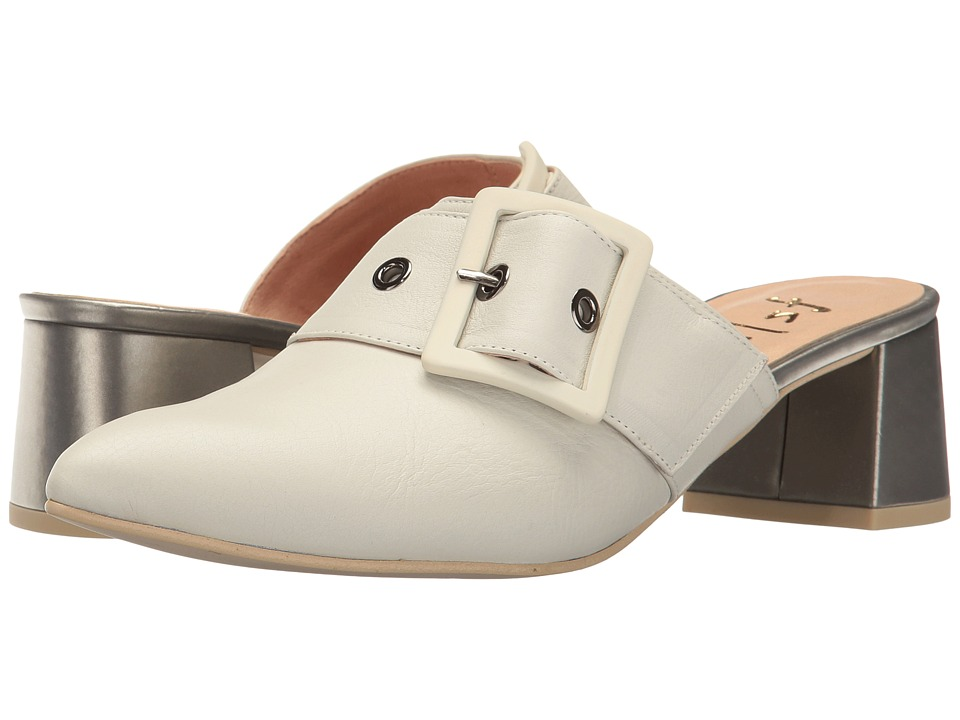 French Sole - Widget (Off-White Soft Calfskin Leather/Silver Metallic Leather) Women's Shoes