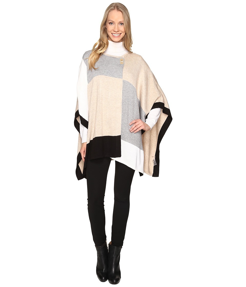 Calvin Klein - Color Blocked Poncho Sweater (Heather Latte 1) Women's Sweater