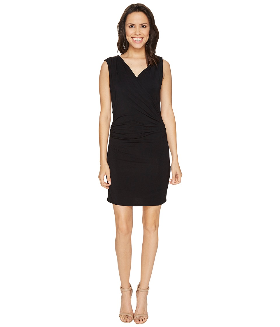 HEATHER - Wrap Front and Back Dress (Black) Women's Dress