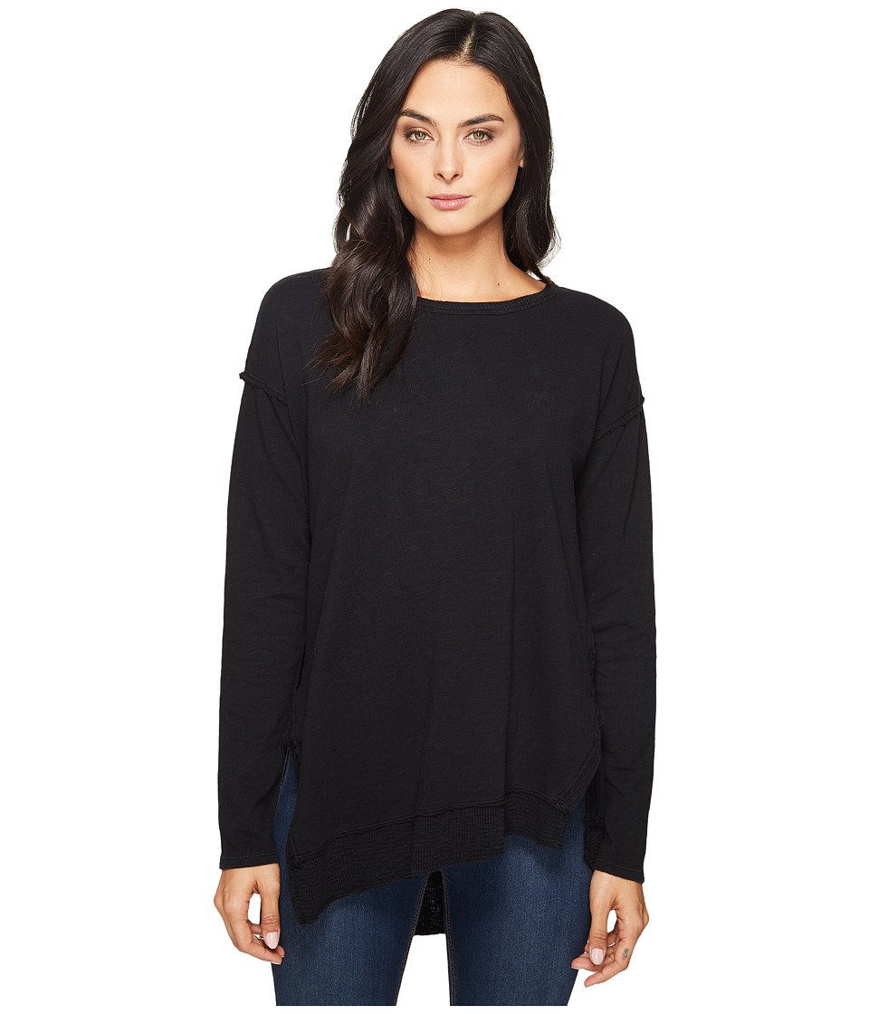 HEATHER - Rib Panel Slouchy Asymmetric Pullover (Black) Women's Clothing