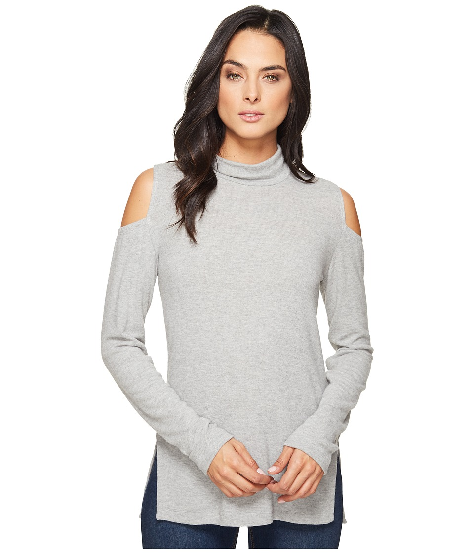 HEATHER - Brushed Hacci Cold Shoulder Turtleneck (Light Heather Grey) Women's Sweater