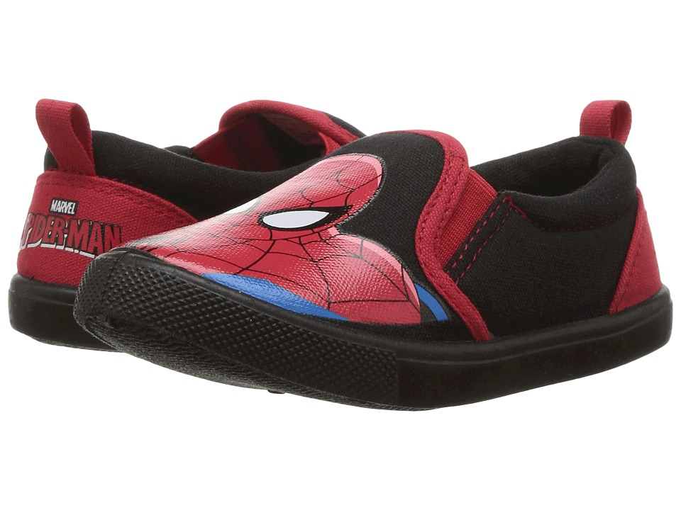 Favorite Characters - Spiderman Canvas Slip-On SPS715 (Toddler/Little Kid) (Black/Red) Boy's Shoes