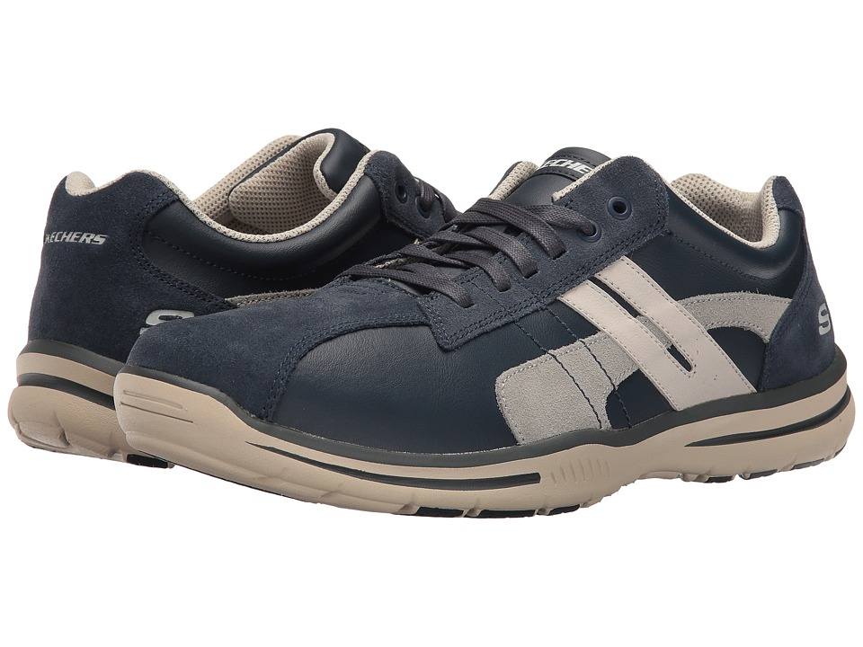 SKECHERS Relaxed Fit Elected Gavino (Navy Leather) Men