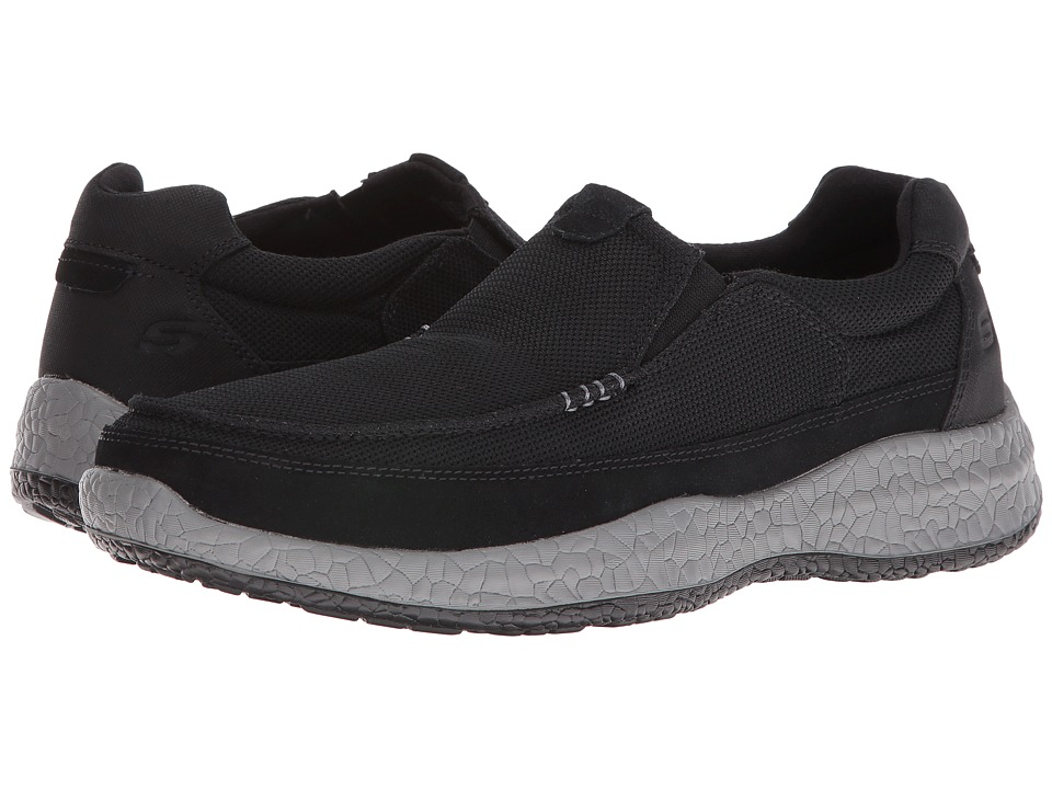 SKECHERS Relaxed Fit Bursen Kinto (Black Mesh/Suede) Men