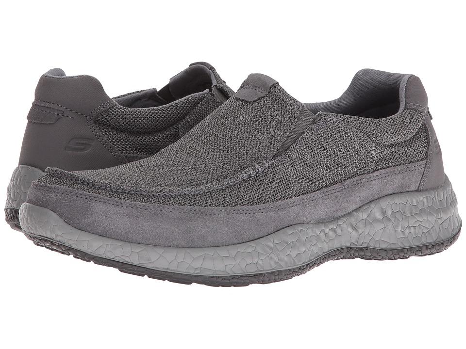 SKECHERS - Relaxed Fit Bursen - Kinto (Charcoal Gray Mesh/Suede) Men