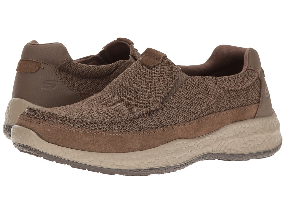 SKECHERS - Relaxed Fit Bursen - Kinto (Light Brown Mesh/Suede) Men's Slip on Shoes