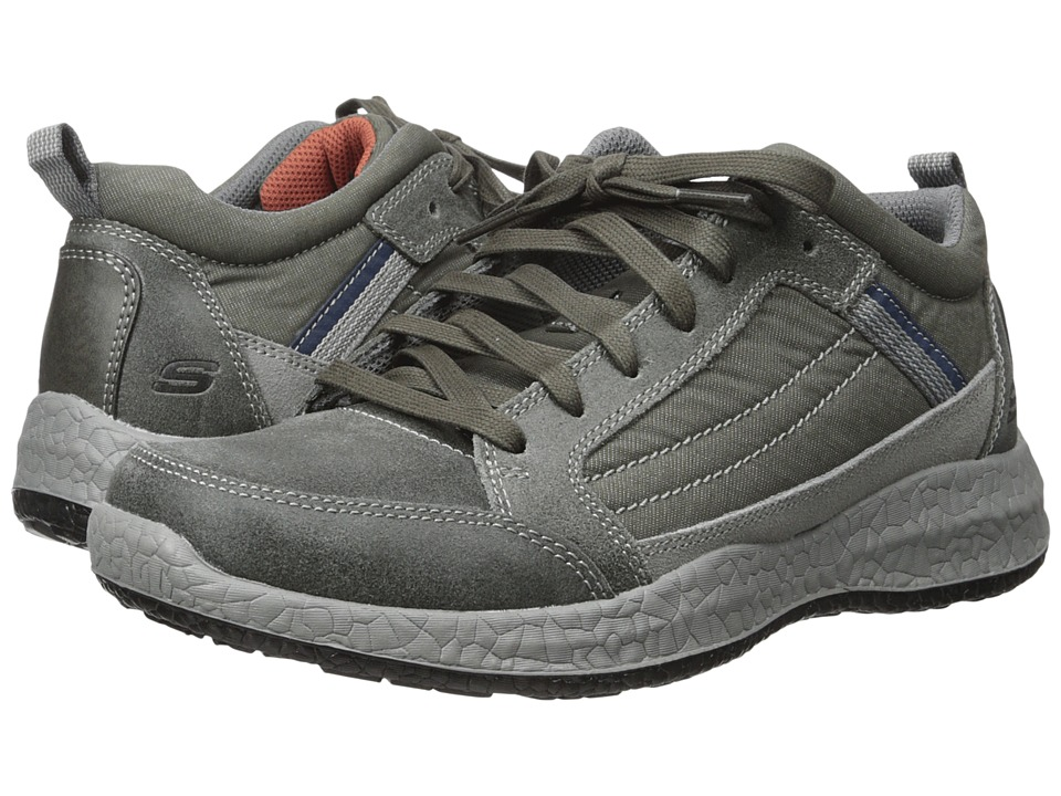 SKECHERS - Relaxed Fit Bursen - Hecton (Charcoal Leather/Mesh) Men's Lace up casual Shoes