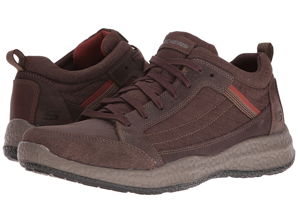 SKECHERS - Relaxed Fit Bursen - Hecton (Chocolate Leather/Mesh) Men's Lace up casual Shoes