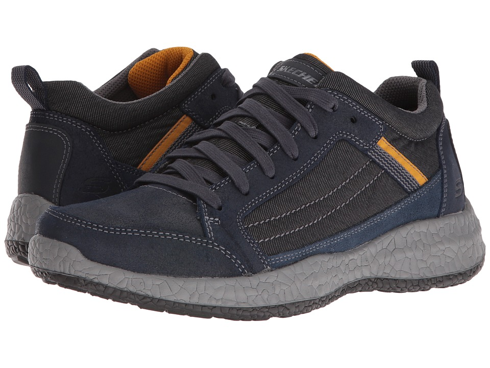 SKECHERS - Relaxed Fit Bursen - Hecton (Navy Leather/Mesh) Men's Lace up casual Shoes