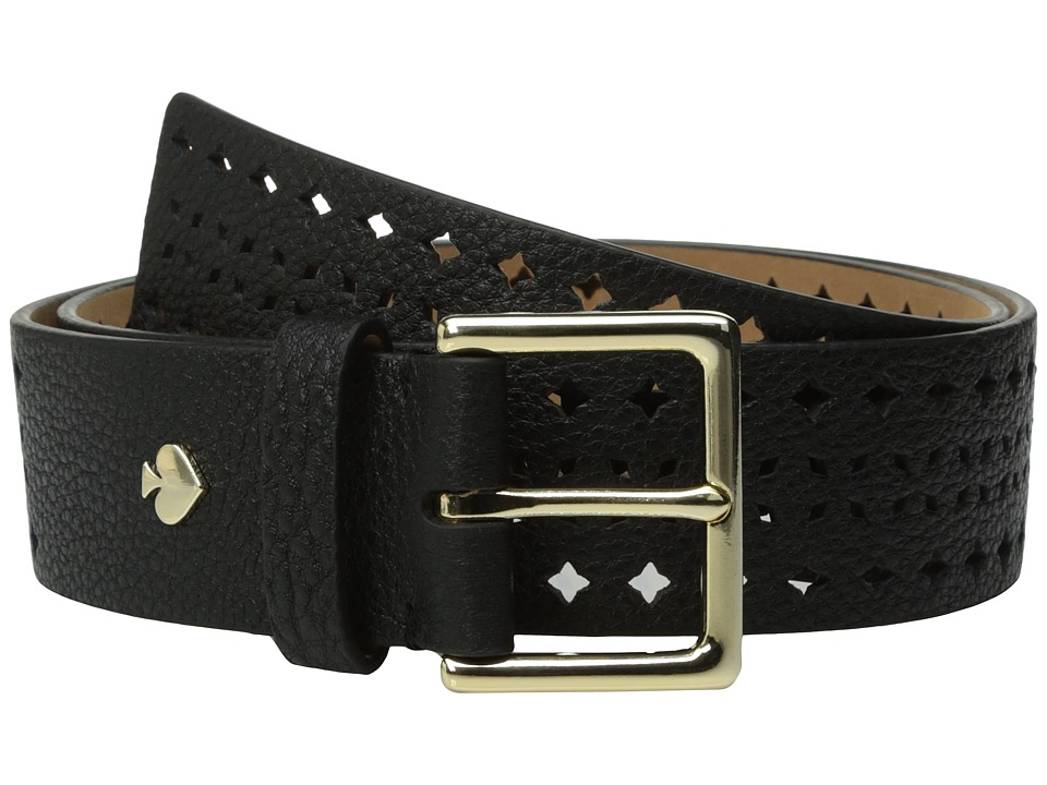 Kate Spade New York - 1 1/2 Shrunken Lantern Perforated Belt (Black) Women's Belts