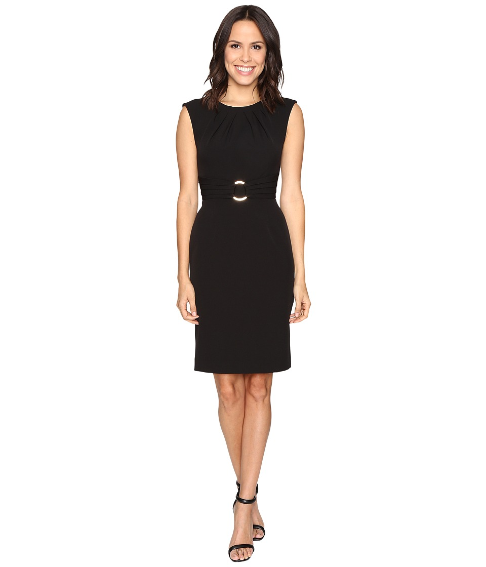 Tahari by ASL - Crepe Sheath Dress w/ Hardware (Black) Women's Dress