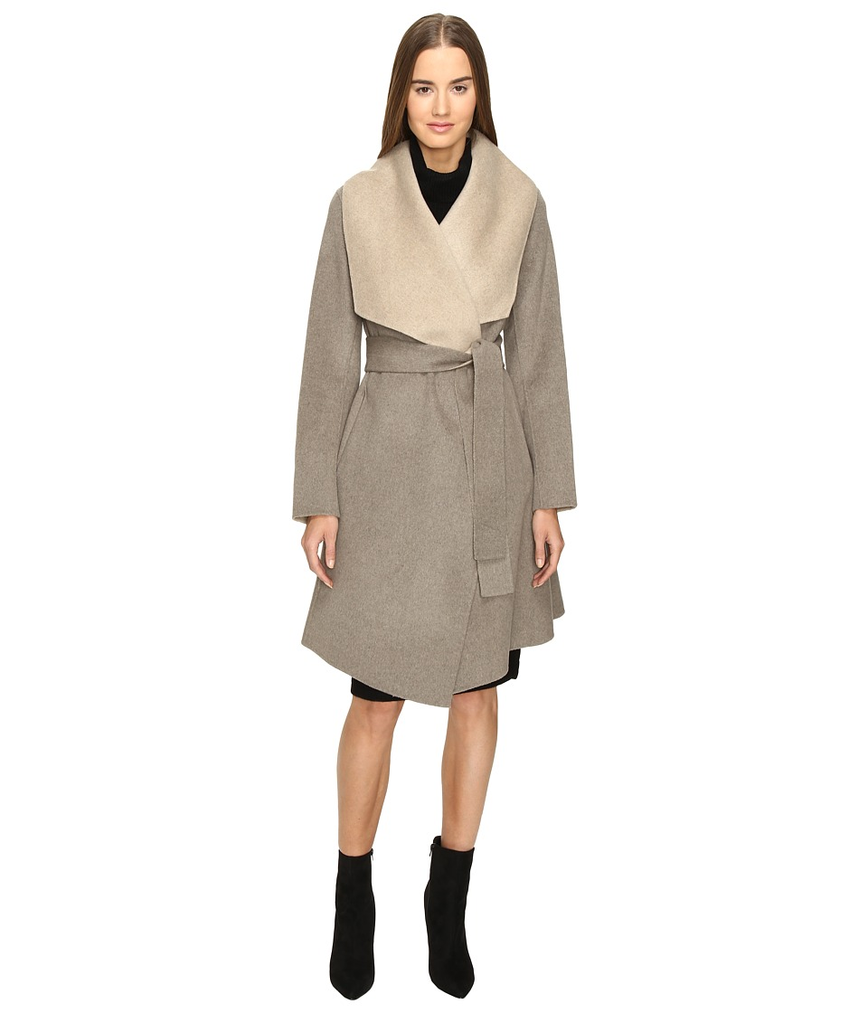 Diane von Furstenberg - Jenna Double Face Wool Two-Tone Wrap Coat (Taupe/Oatmeal) Women's Coat