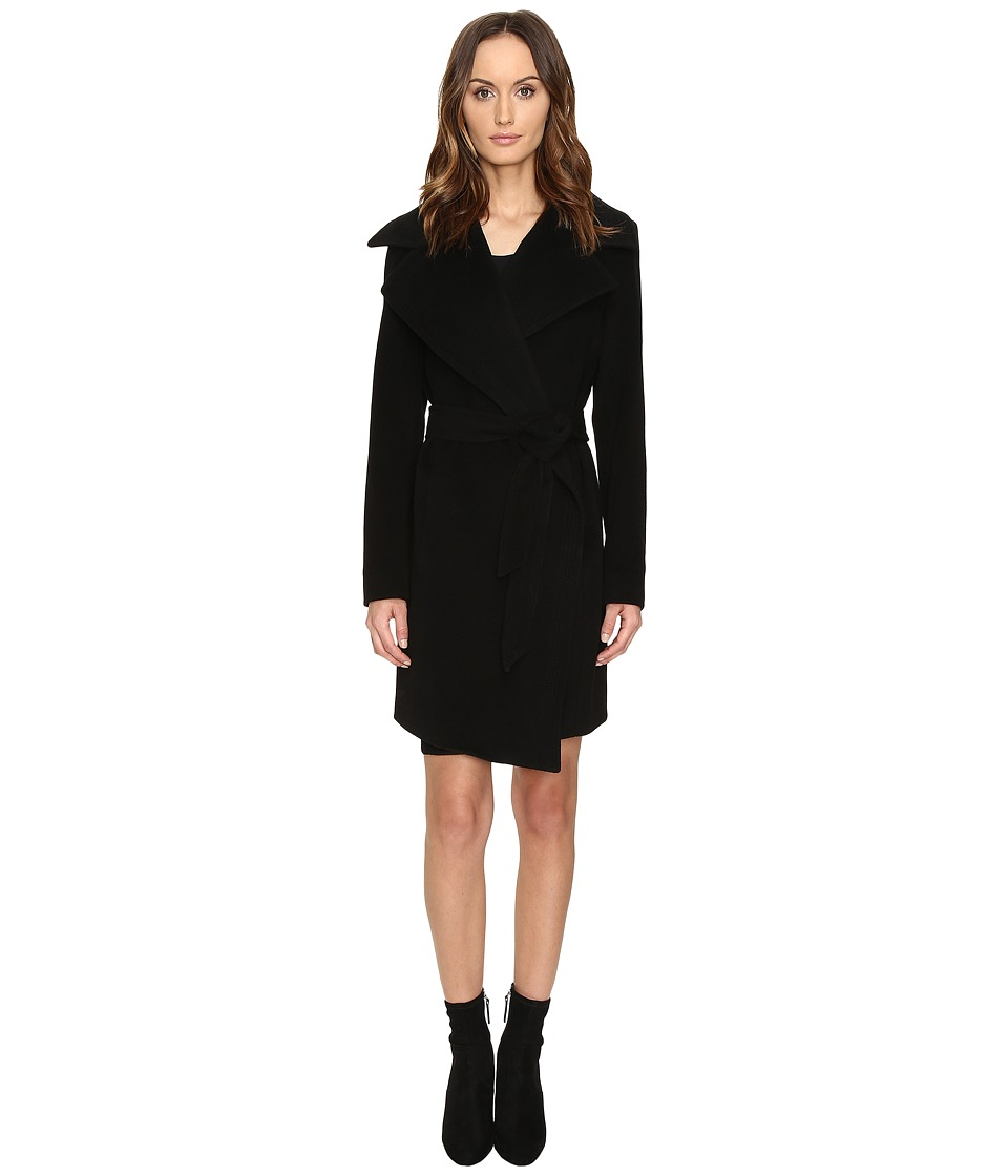 Diane von Furstenberg - Nicole Drape Wool Wrap Multi Stitch Collar Coat (Black/Bordeaux) Women's Coat