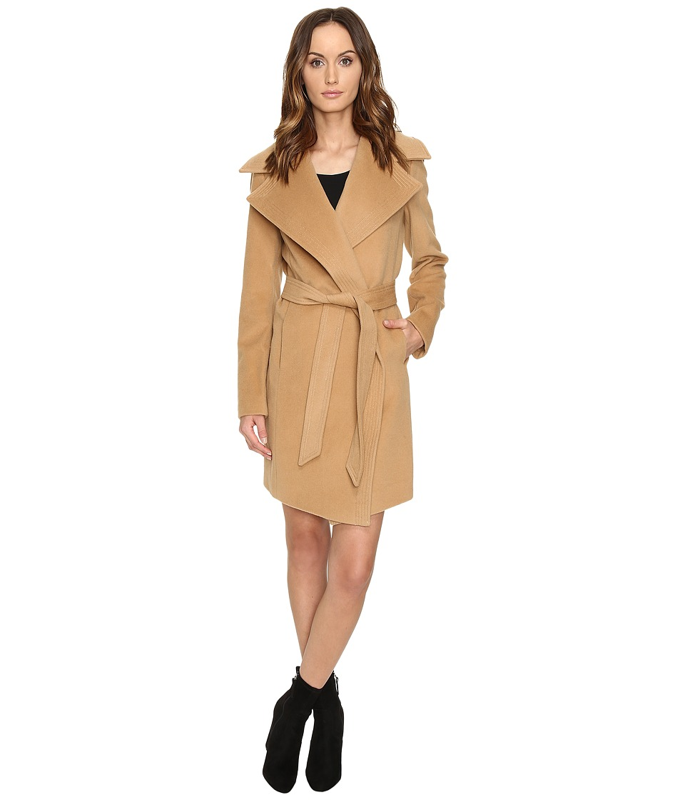 Diane von Furstenberg - Nicole Drape Wool Wrap Multi Stitch Collar Coat (Camel) Women's Coat