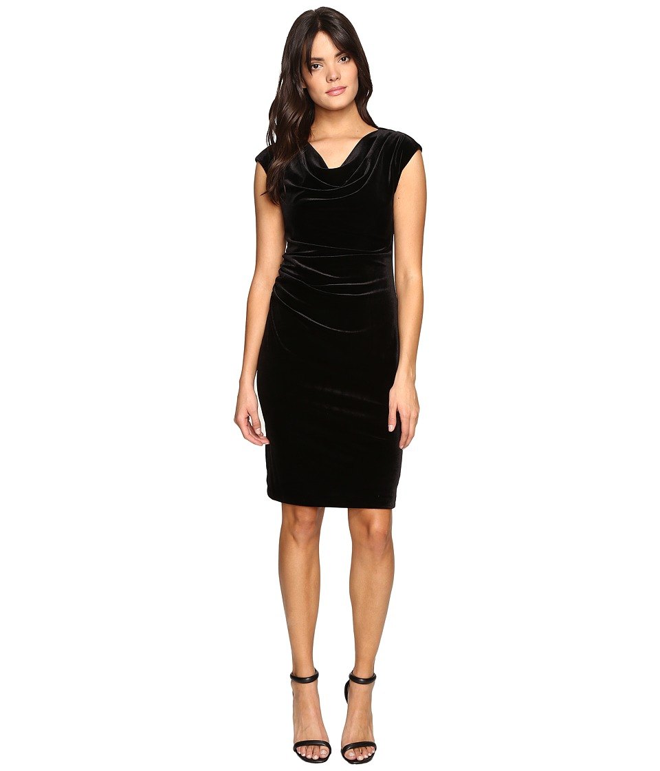 Calvin Klein - Cowl Neck Velvet Dress (Black) Women's Dress