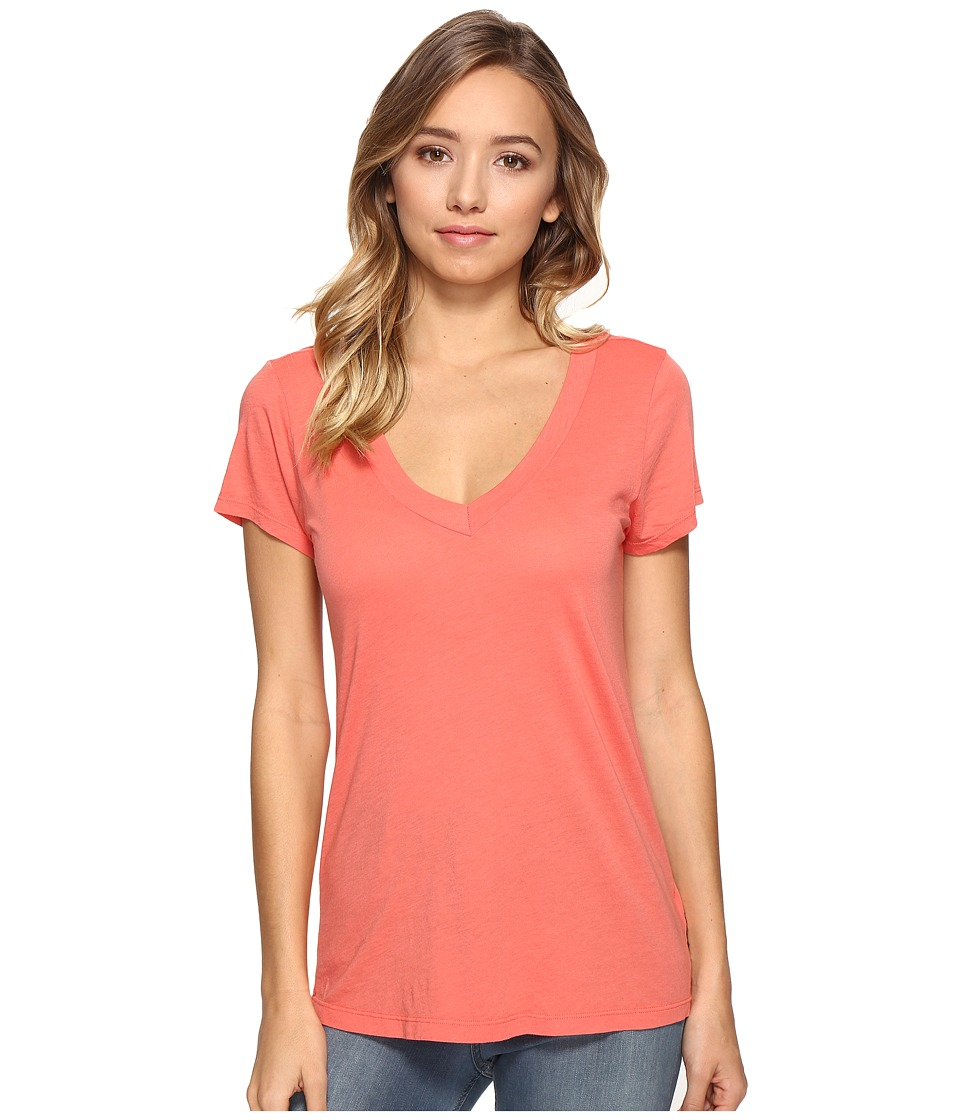 LAmade - Short Sleeve Low V-Neck Boyfriend Tee (Spiced Coral) Women's T Shirt
