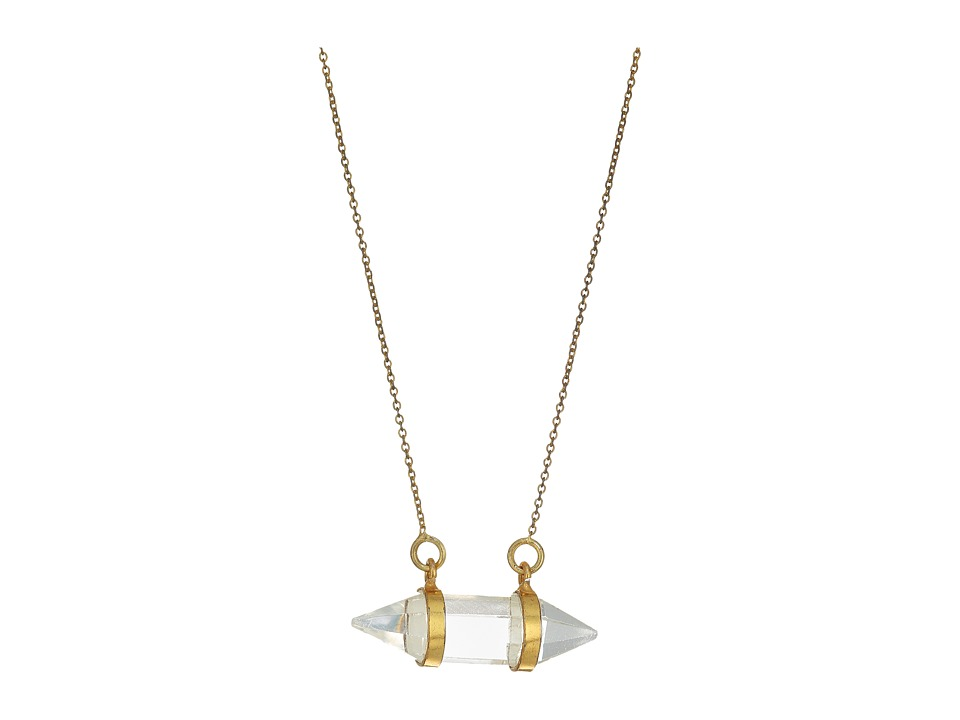 Dee Berkley - Horizontal Crystal Necklace Clear Quartz (Gold) Necklace