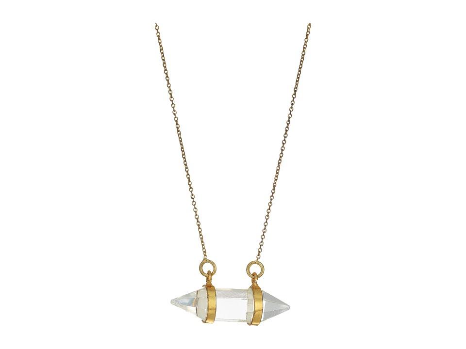 Dee Berkley - Horizontal Crystal Necklace Clear Quartz (Gold) Necklace