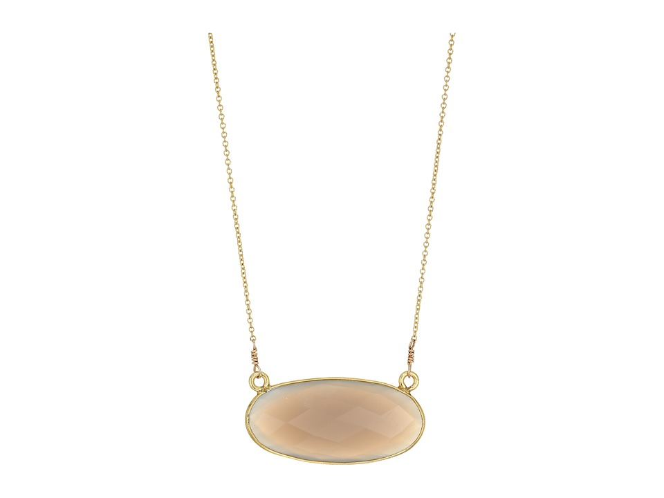 Dee Berkley - Oval Gemstone Necklace Moonstone (Gray) Necklace