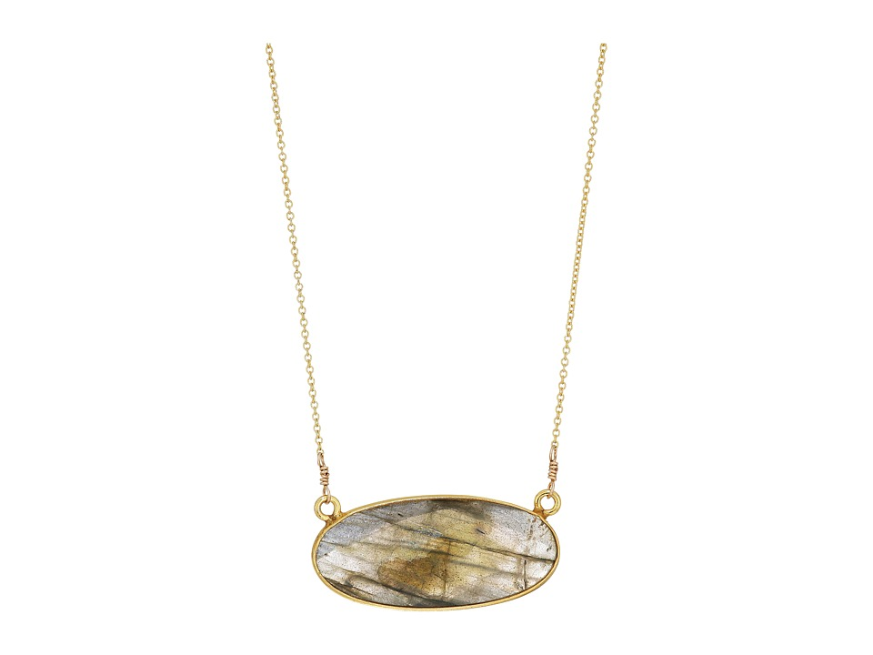Dee Berkley - Oval Gemstone Necklace Labradorite (Gray) Necklace