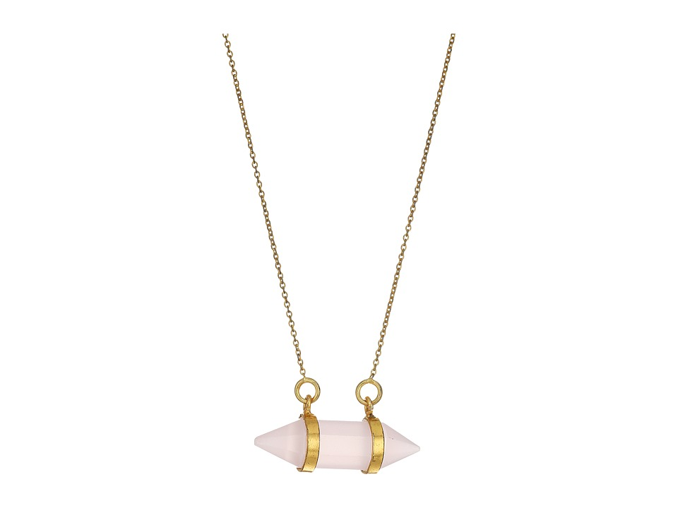 Dee Berkley - Horizontal Crystal Necklace Rose Quartz (Pink) Necklace