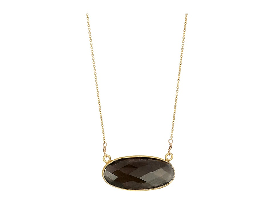 Dee Berkley - Oval Gemstone Necklace Smoky Quartz (Brown) Necklace