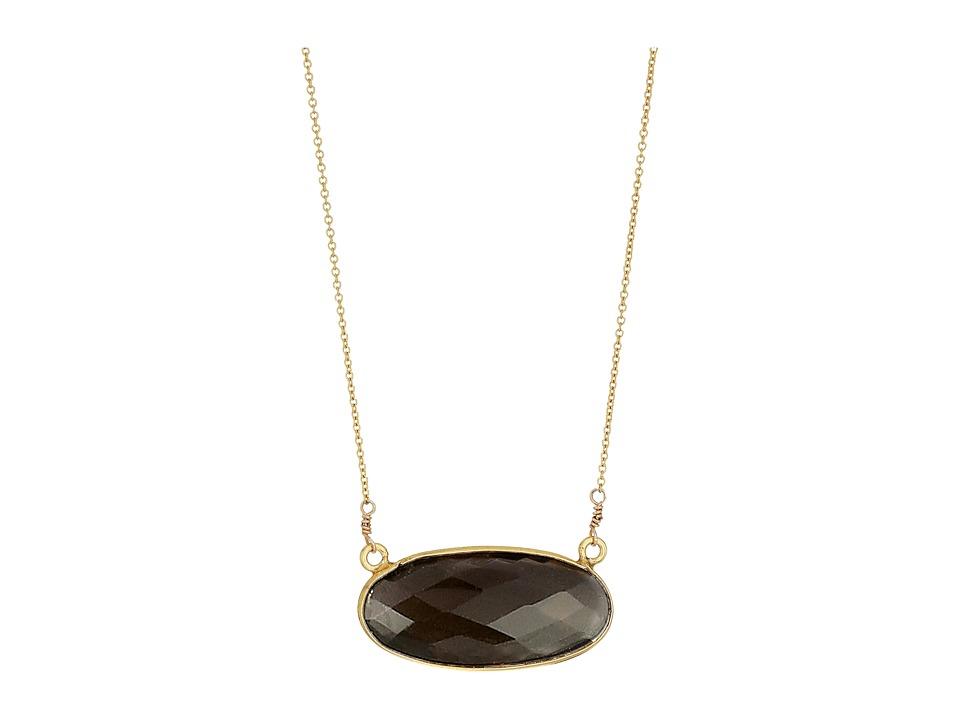 Dee Berkley - Oval Gemstone Necklace Smoky Quartz (Brown) Necklace