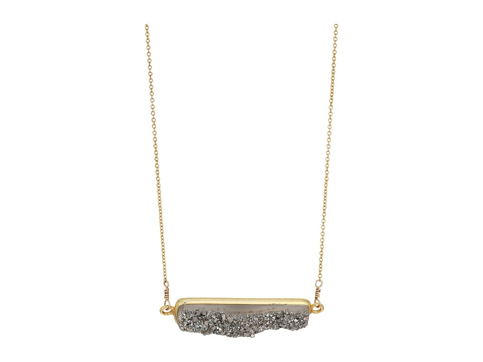 Dee Berkley - Horizontal Drusy Necklace Gray (Gray) Necklace