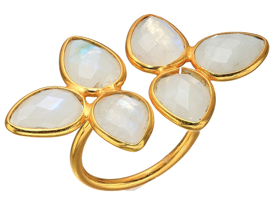 Dee Berkley - Gemstone Flower Ring Moonstone (White) Ring
