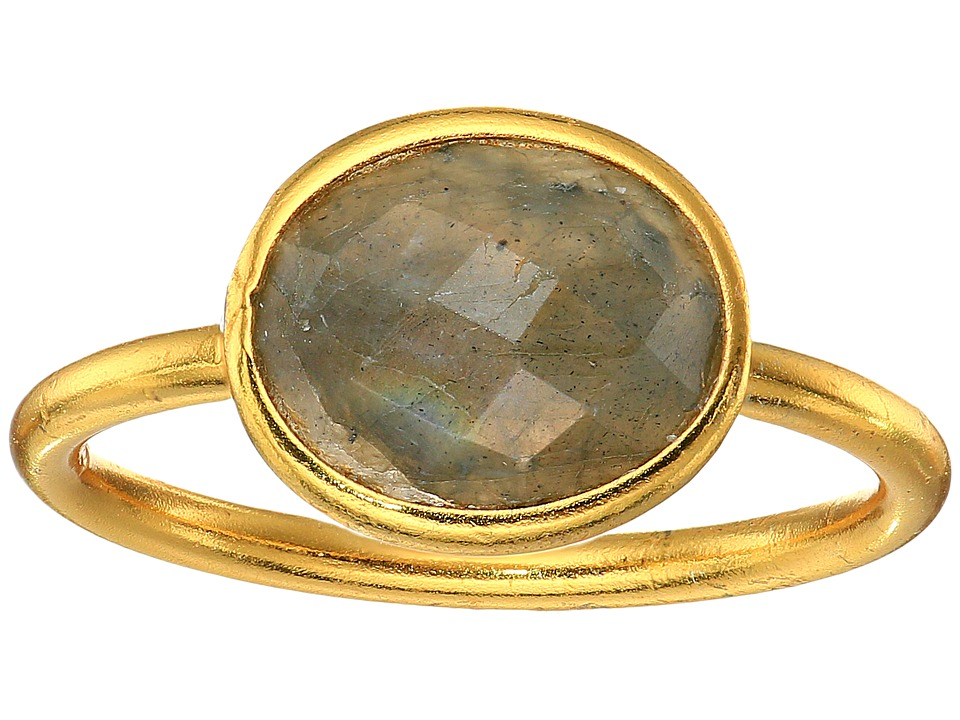 Dee Berkley - Single Oval Stone Adjustable Ring Labradorite (Gray) Ring