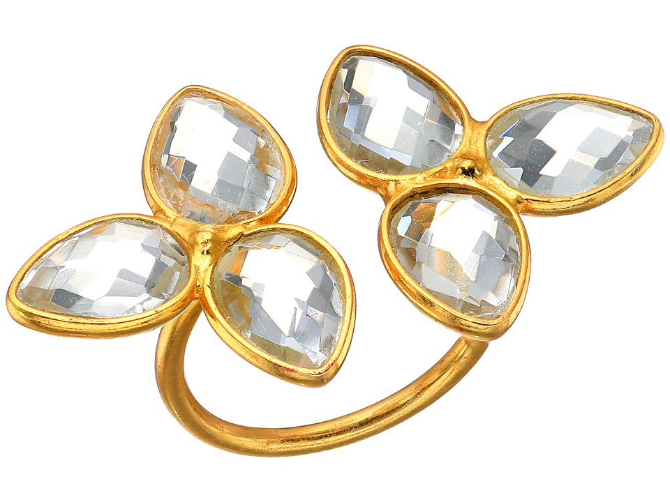 Dee Berkley - Gemstone Flower Ring Clear Quartz (Gold) Ring