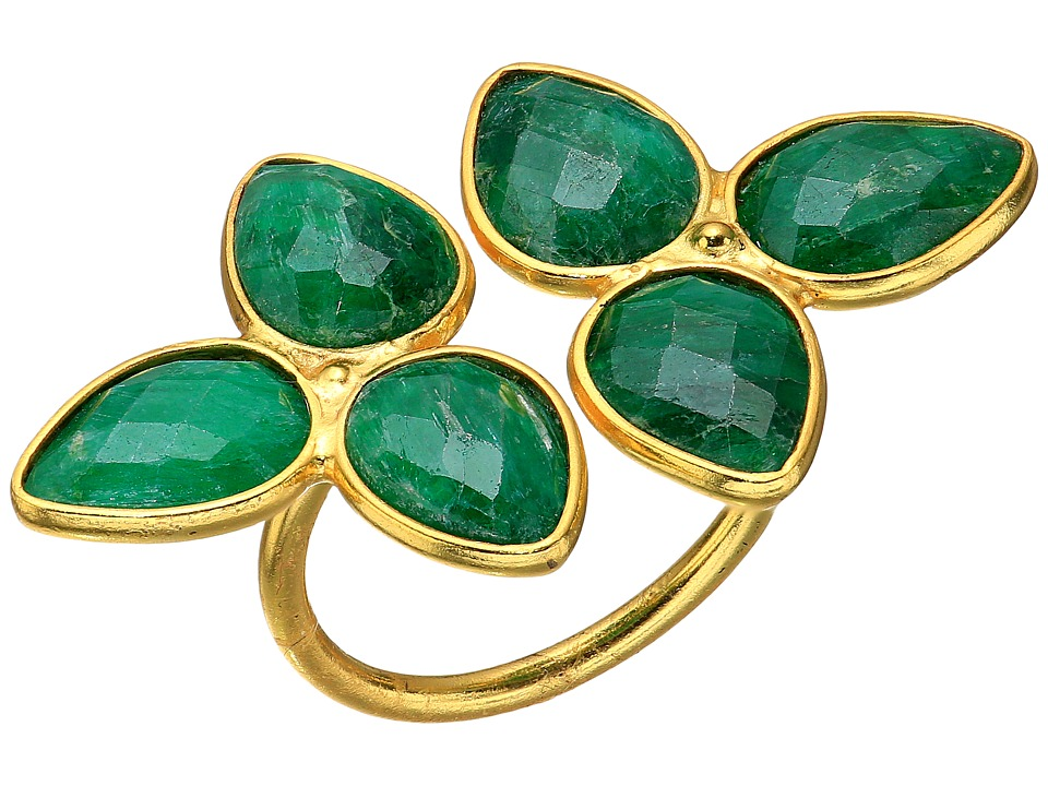 Dee Berkley - Gemstone Flower Ring Dyed Emerald (Green) Ring