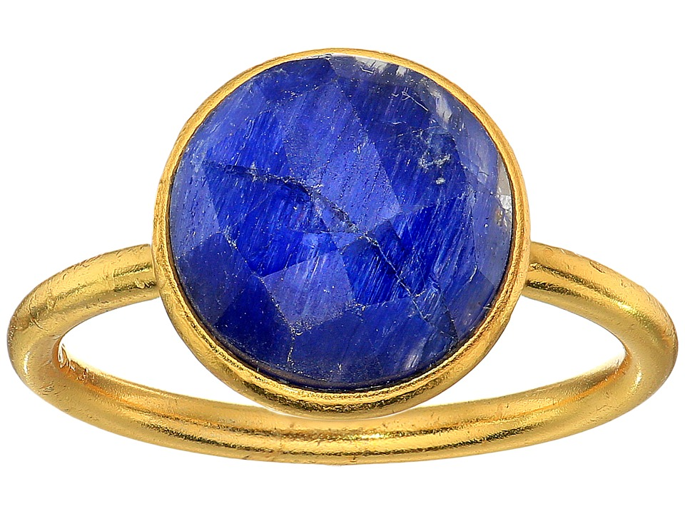 Dee Berkley - Single Round Stone Adjustable Ring Dyed Sapphire (Blue) Ring