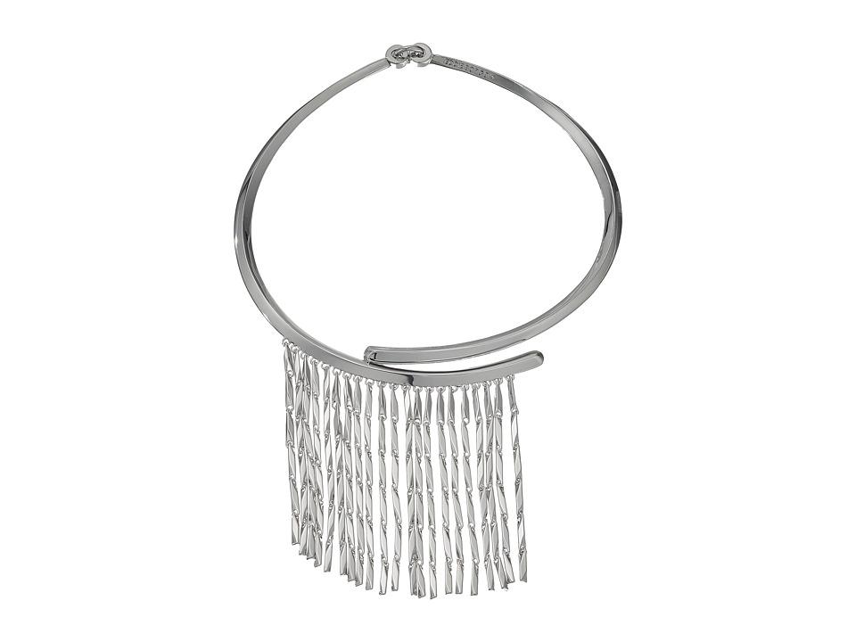 Eddie Borgo - Peaked Fringe Collar Necklace (Rhodium) Necklace