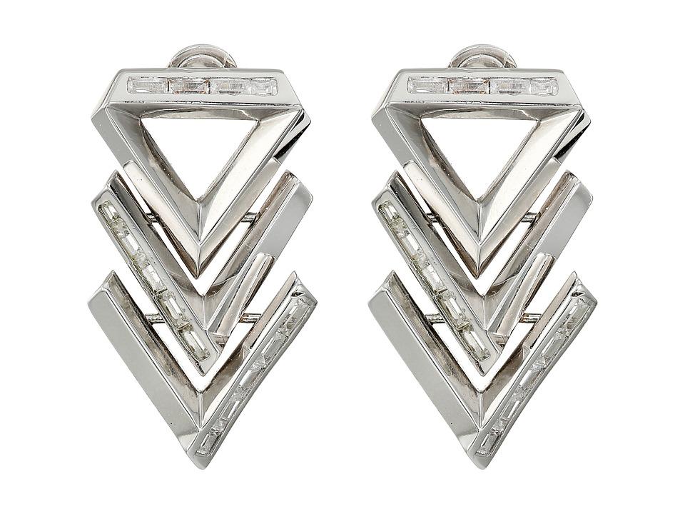 Eddie Borgo - Twill Chevron Earrings (Rhodium) Earring