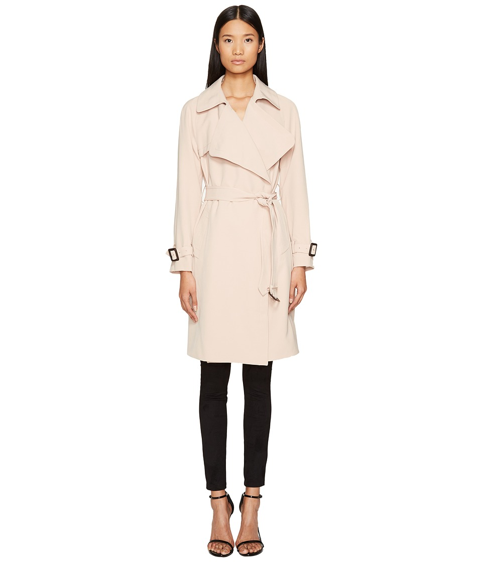 Diane von Furstenberg - Anouk Wide Notched Collar Trench Coat w/ Waist Belt (Blush) Women's Coat