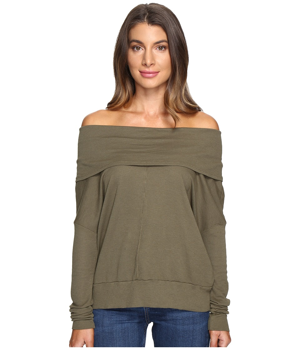 LAmade - Rembrandt Off the Shoulder Boxy Top (Olive Night) Women's Long Sleeve Pullover
