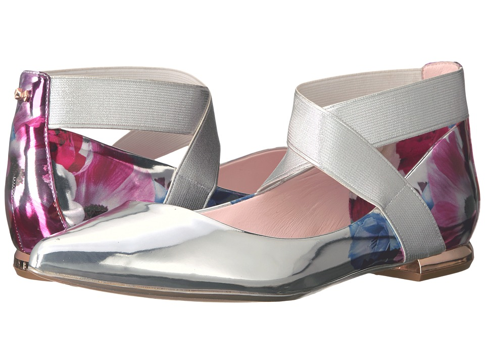 Ted Baker - Cencae (Blushing Bouquet Mirror Metallic PU) Women's Flat Shoes