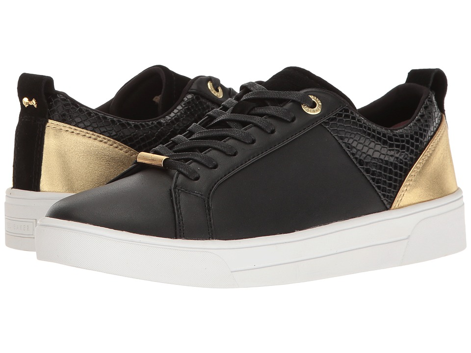 Ted Baker - Kulei (Black/Rose Gold Leather/PU) Women's Lace up casual Shoes
