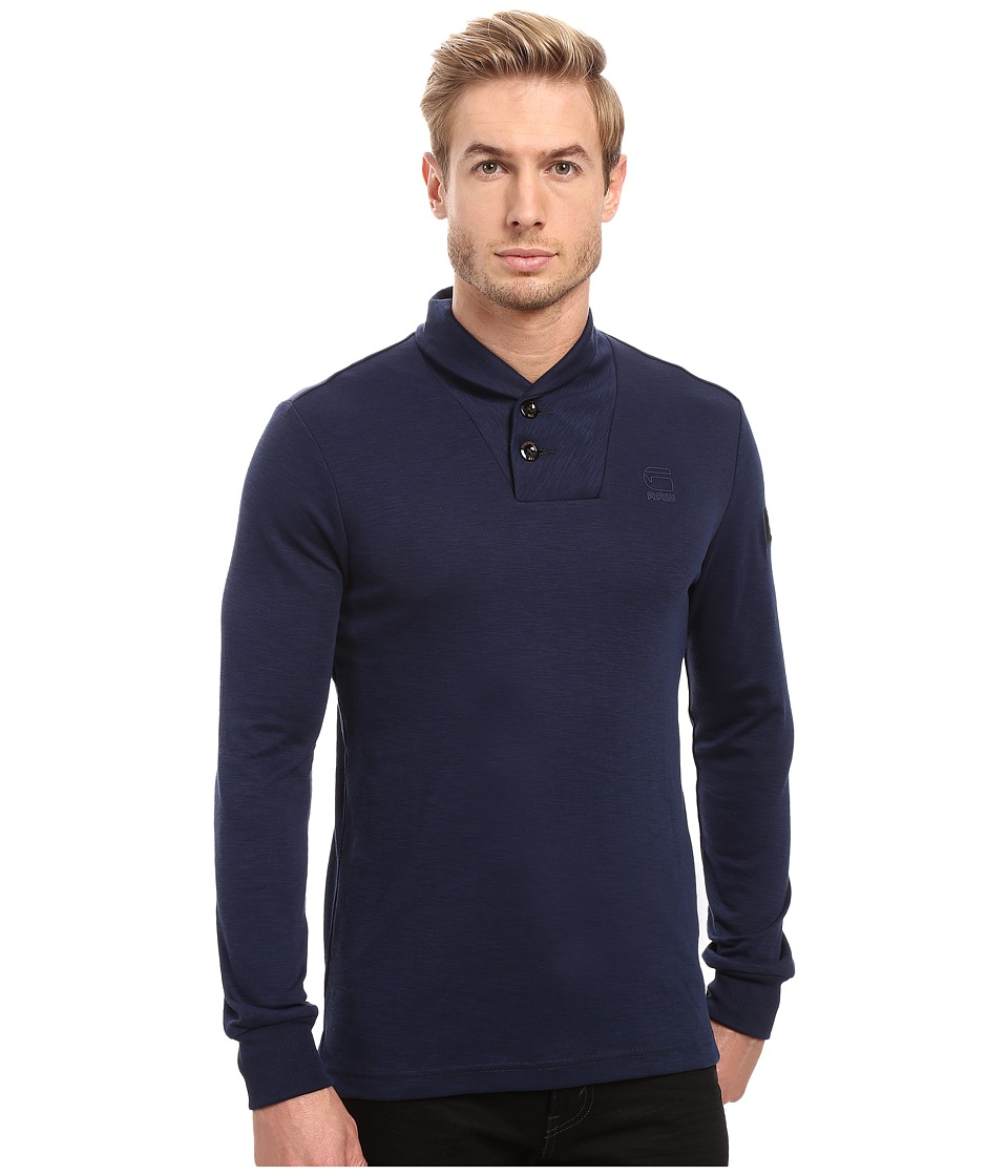 G-Star - Poult Collar Tee Long Sleeve (Imperial Blue/Black) Men's T Shirt
