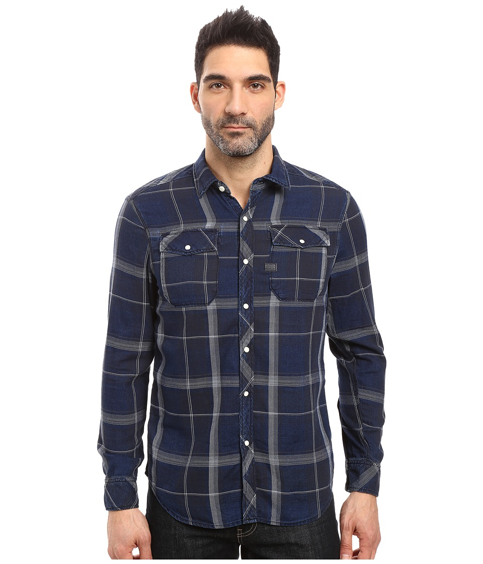 G-Star - Landoh Shirt Long Sleeve (Black Indigo/Light Iron Check) Men's Clothing