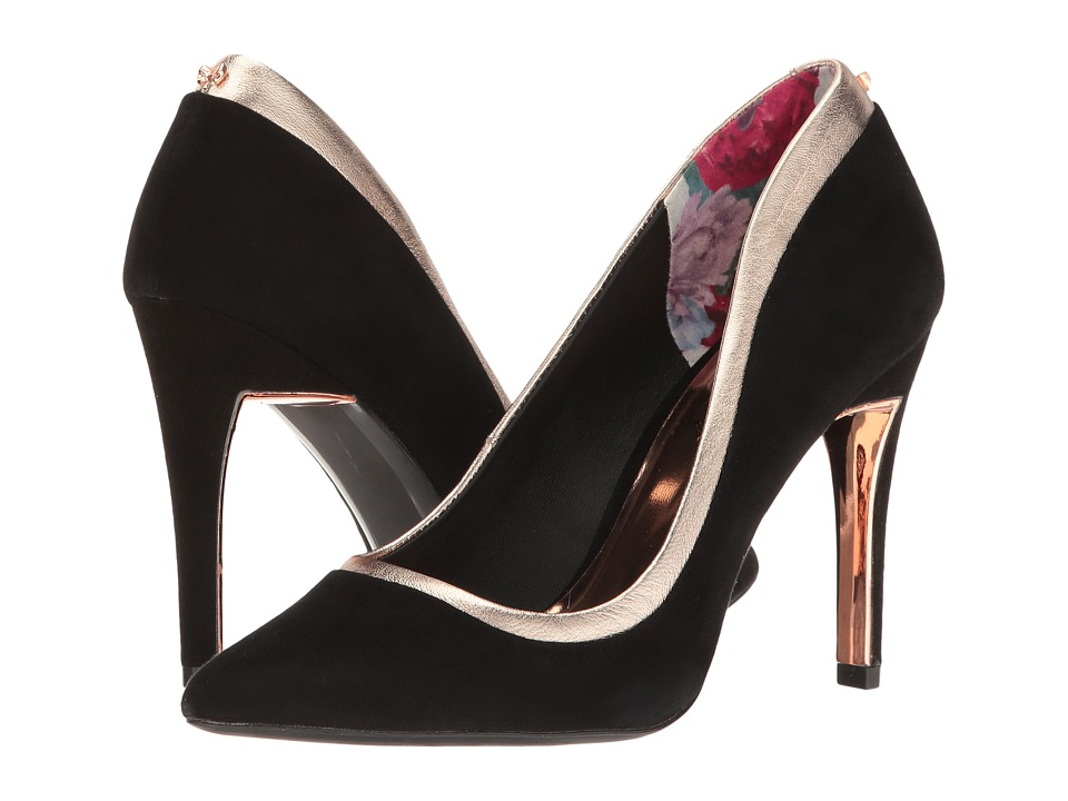 Ted Baker - Sayu (Black/Rose Gold Suede/Metallic Leather) High Heels