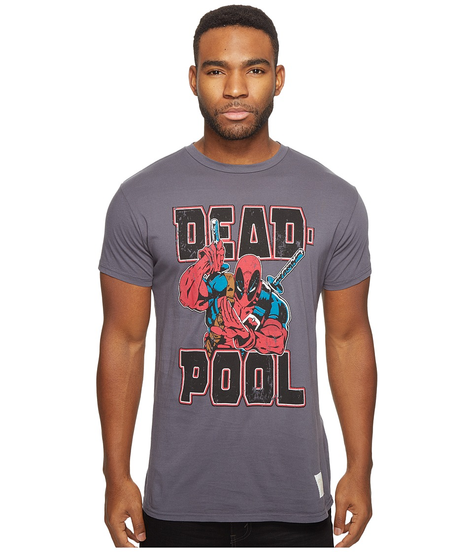 The Original Retro Brand - Deadpool Short Sleeve Vintage Cotton Tee (Charcoal) Men's T Shirt