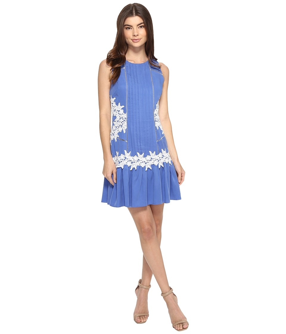 Adelyn Rae Woven Pintuck-Decorated Mini Dress w/ Flared Hem and Ladder Floral Lace Trim (Cornflower Blue) Women